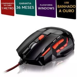 Mouse Gamer Multilaser 2400DPI 7 Botões Preto e Vermelho - MO236