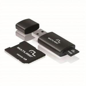 Cartão De Memória Classe 10 64GB + Adaptador 3 em 1 SD + Pendrive Preto Multilaser - MC115