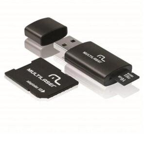 Cartão De Memória Classe 10 16GB + Adaptador 3 em 1 SD + Pendrive Preto Multilaser - MC112