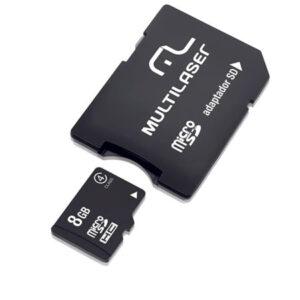 Cartão De Memória Adaptador 2 em 1 Multilaser SD +Trava de Segurança Classe 4 8GB Preto - MC004