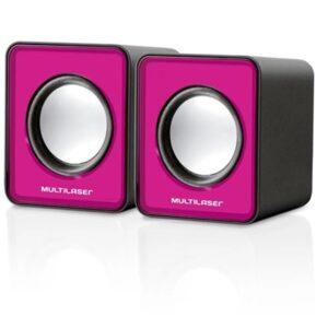 Caixa De Som Multilaser 2.0 Mini 3W Rms Rosa – SP198