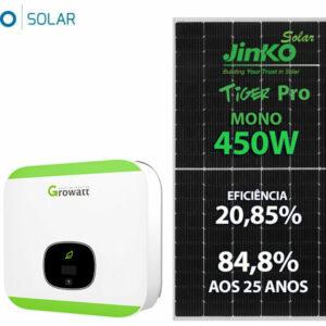 Gerador De Energia Solar Growatt Rosca Dupla Madeira Solar Group Gf 4,95kwp Jinko Tiger Pro Mono 450w Min 5kw 2m