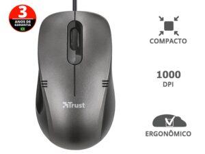Mouse Com Fio 20404 Ivero Compacto e Ergonomico  Optico Preto 1000 Dpi Usb
