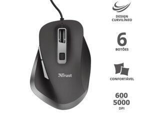 Mouse Com Fio 23808 Fyda Curvo Com 6 Botoes Optico Preto 5000 Dpi Usb
