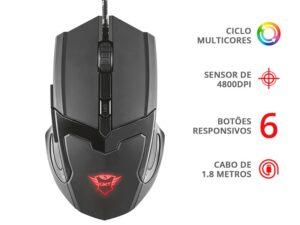 Mouse Gamer Gxt-101 6 Botoes Optico 4800 Dpi Usb Preto