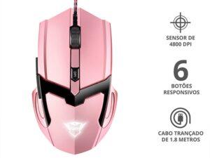 Mouse Gamer Gxt-101pbotoesoptico 4800 Dpi Usb Rosa