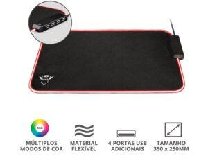 Mouse Pad 23646 Gxt-765 Glide Rgb De Alta Precisao Com Hub 4 Portas Usb